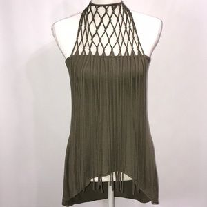 Sexy Olive Green Fringed Strapless Top